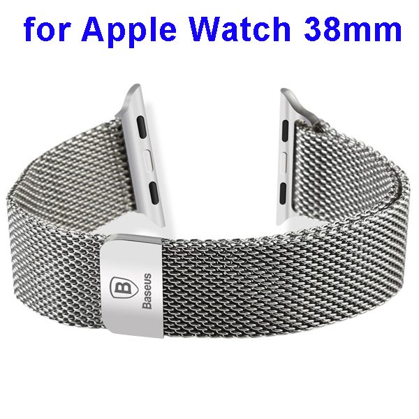 Basues Luxury Design Metal Wristband Replacement for Apple Watch 38mm with Metal Clasp (Silver)