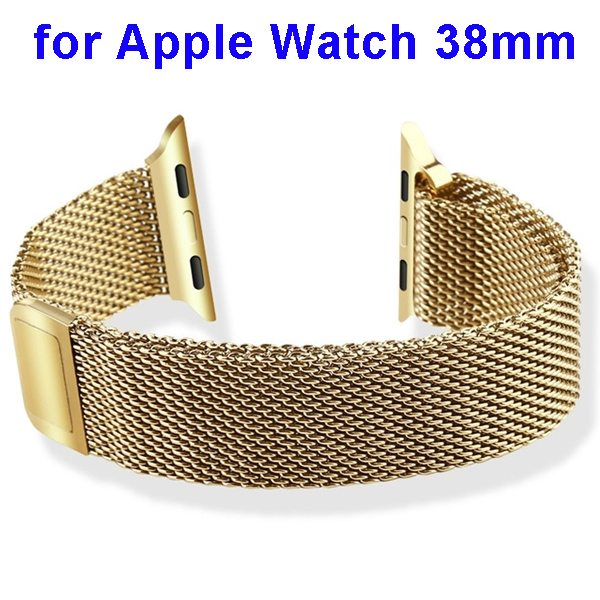 Basues Luxury Design Metal Wristband Replacement for Apple Watch 38mm with Metal Clasp (Light Golden)