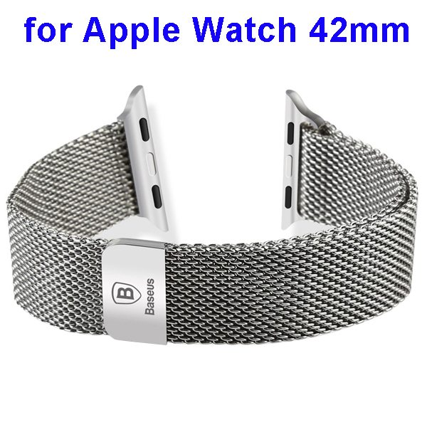 Basues Luxury Design Metal Wristband Replacement for Apple Watch 42mm with Metal Clasp (Silver)