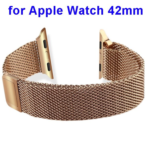 Basues Luxury Design Metal Wristband Replacement for Apple Watch 42mm with Metal Clasp (Golden)