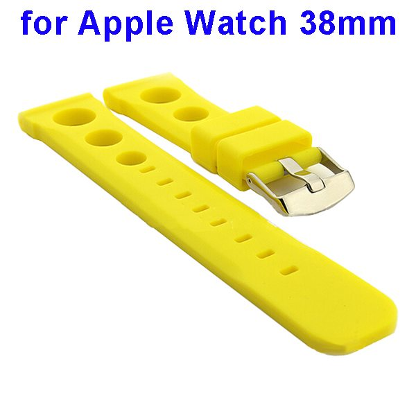 Fashionable Design Silicone Wristband for Apple Watch 38mm (Yellow)