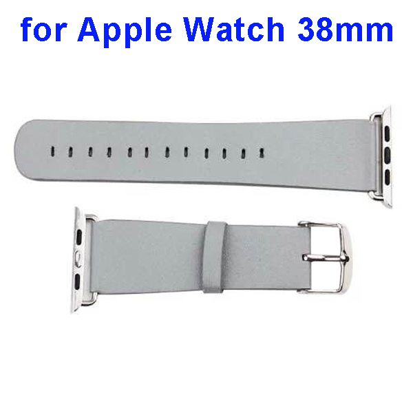 PU Leather Wristband for Apple Watch 38mm without Metal Connector (Grey)