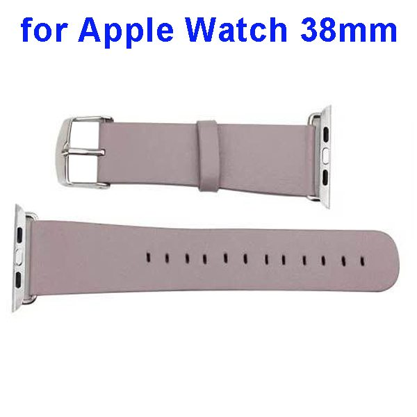 PU Leather Wristband for Apple Watch 38mm without Metal Connector (Khaki)