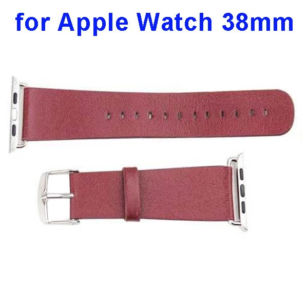 PU Leather Wristband for Apple Watch 38mm without Metal Connector (Dark Brown)
