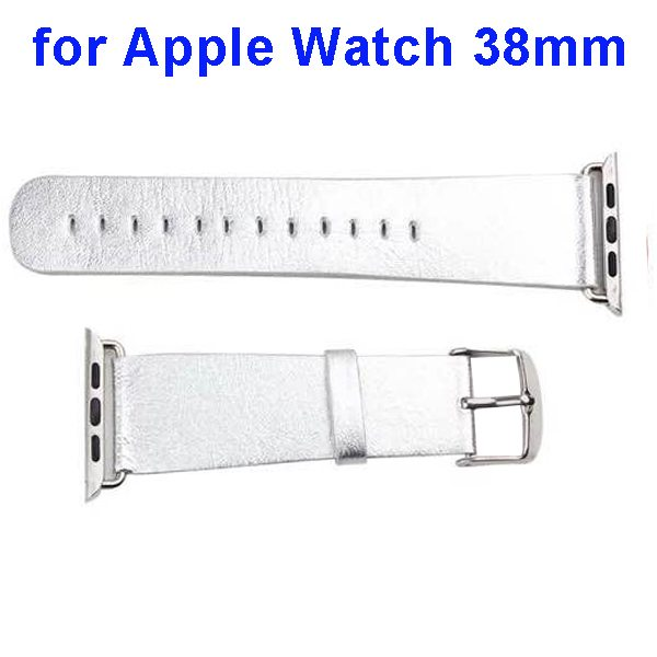 PU Leather Wristband for Apple Watch 38mm without Metal Connector (Silver)
