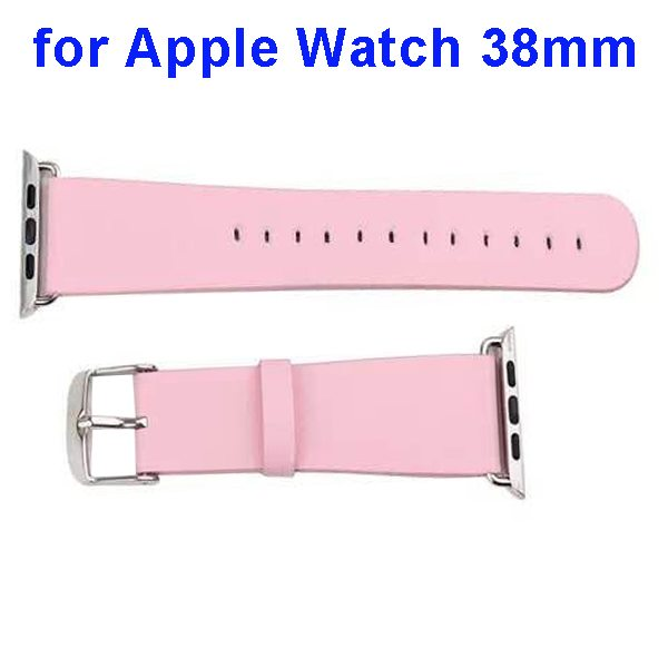 PU Leather Wristband for Apple Watch 38mm without Metal Connector (Pink)