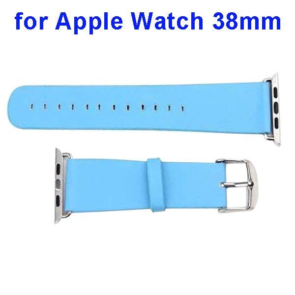 PU Leather Wristband for Apple Watch 38mm without Metal Connector (Light Blue)