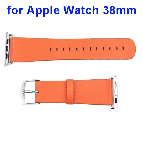 PU Leather Wristband for Apple Watch 38mm without Metal Connector (Orange)