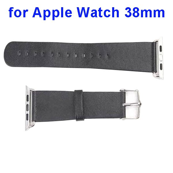 PU Leather Wristband for Apple Watch 38mm without Metal Connector (Black)