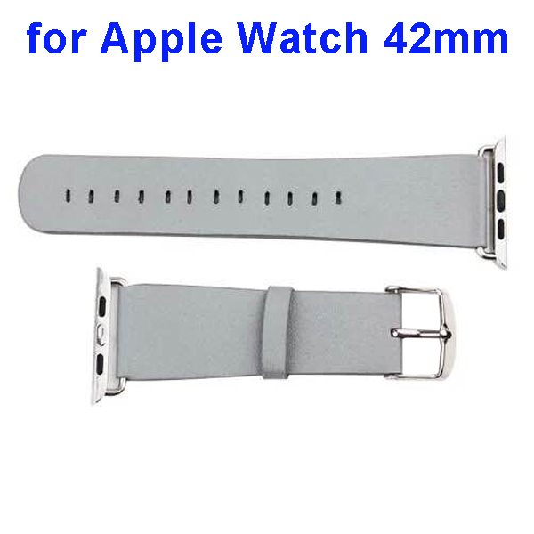 PU Leather Wristband for Apple Watch 42mm without Metal Connector (Grey)