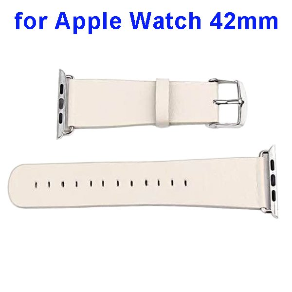 PU Leather Wristband for Apple Watch 42mm without Metal Connector (Beige)