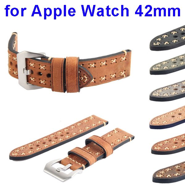 Luxury Design Genunie Leather Wristband Replacement for Apple Watch 42mm with Metal Clasp (Brown)