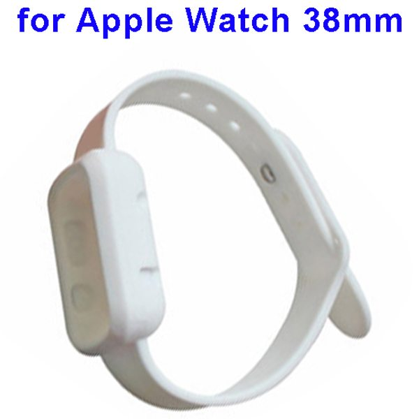 Nice Design Durable Silicone Siamesed Wristband for Apple Watch 38mm with Cover (White)