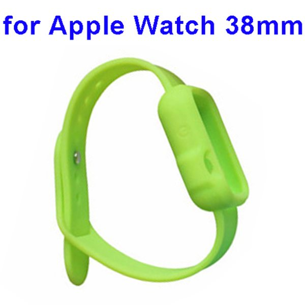 Nice Design Durable Silicone Siamesed Wristband for Apple Watch 38mm with Cover (Green)