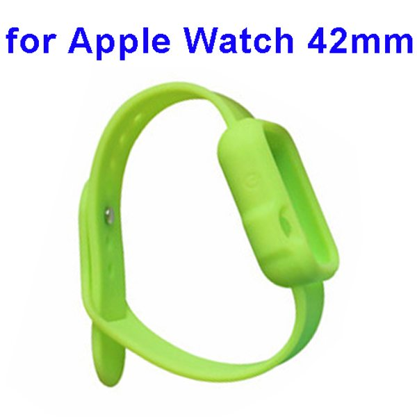 Nice Design Durable Silicone Siamesed Wristband for Apple Watch 42mm with Cover (Green)