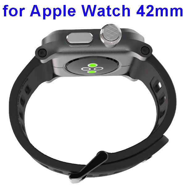 Hybrid Aircraft Aluminum and Silicone Wristband for Apple Watch 42mm (Black)