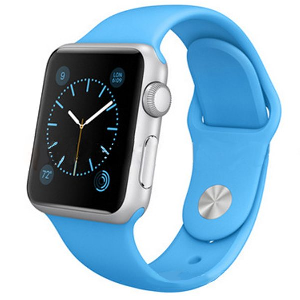 Eco-friendly Material Soft Silicone Wristband for Apple Watch 38MM with Metal Adapter (Blue)