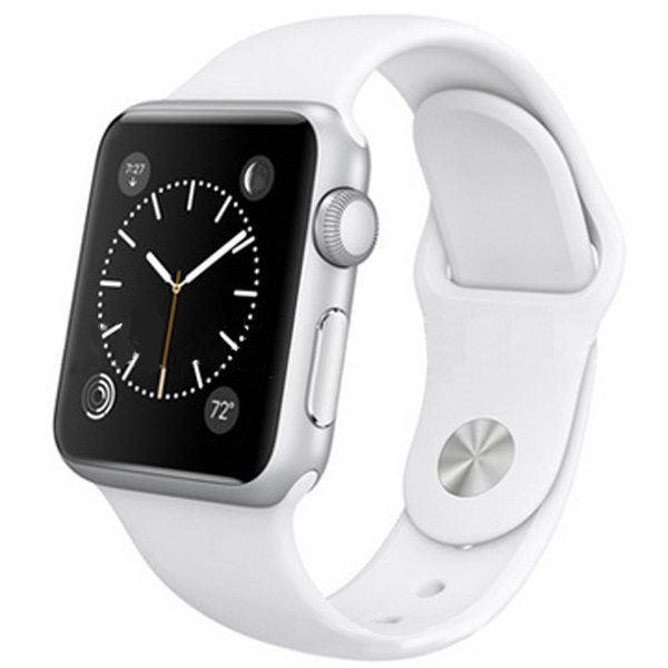 Eco-friendly Material Soft Silicone Wristband for Apple Watch 38MM with Metal Adapter (White)