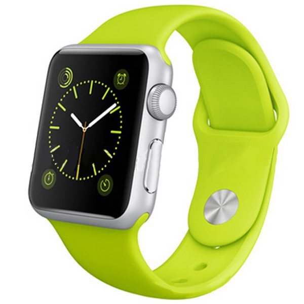 Eco-friendly Material Soft Silicone Wristband for Apple Watch 38MM with Metal Adapter (Green)