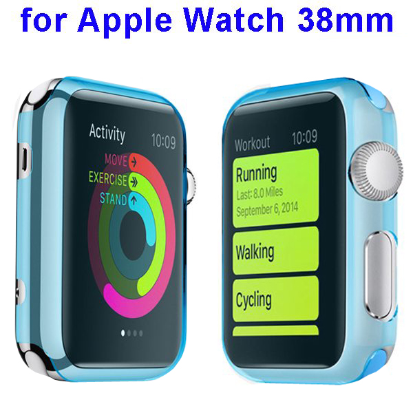 Fashion Design Shockproof Translucent PC Case for Apple Watch 38mm (Baby Blue)