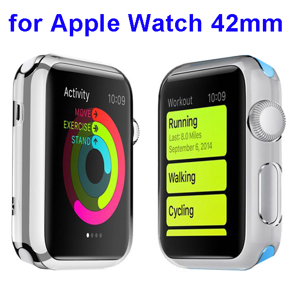 Fashion Design Shockproof Translucent PC Case for Apple Watch 42mm (White)