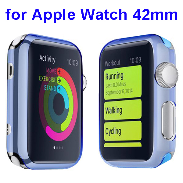 Fashion Design Shockproof Translucent PC Case for Apple Watch 42mm (Blue)