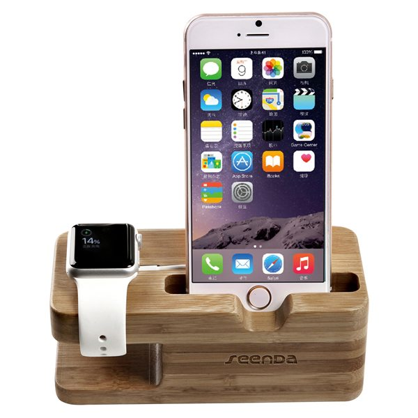Wood Dock Charging Station Stand Mount for Apple Watch and for iPhone 6 (Light Brown)