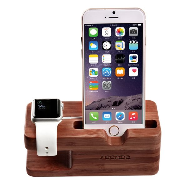Wood Dock Charging Station Stand Mount for Apple Watch and for iPhone 6 (Walnut)