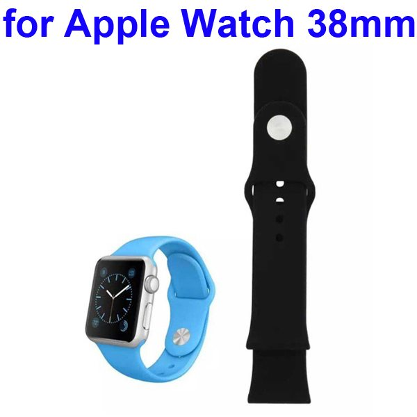 Soft Silicone Strap Sport Wrist Band for Apple Watch 38MM (Black)