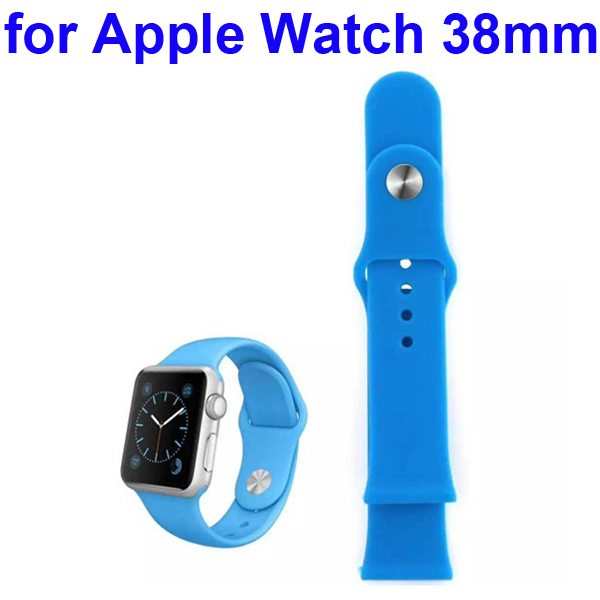 Soft Silicone Strap Sport Wrist Band for Apple Watch 38MM (Blue)