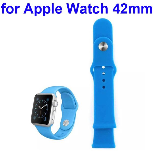 Soft Silicone Strap Sport Wrist Band for Apple Watch 42MM (Blue)
