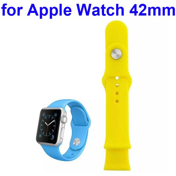 Soft Silicone Strap Sport Wrist Band for Apple Watch 42MM (Yellow)