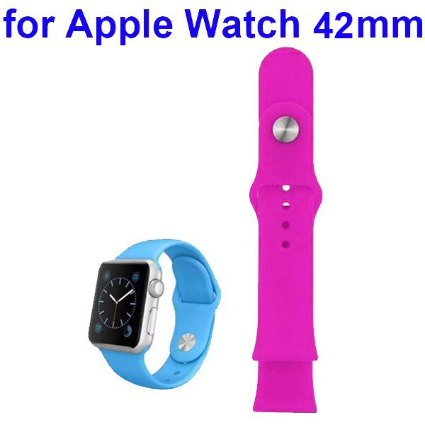 Soft Silicone Strap Sport Wrist Band for Apple Watch 42MM (Dark Rose)