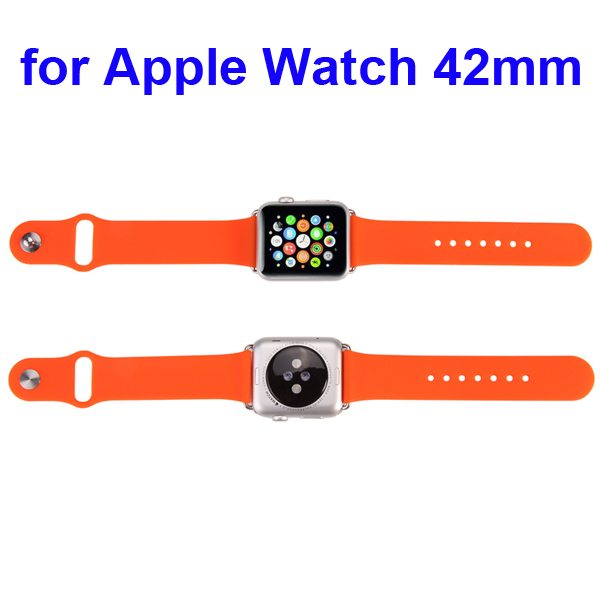 New Coming Soft Silicone Sport Wristband for Apple Watch with adapter 42MM (Orange)