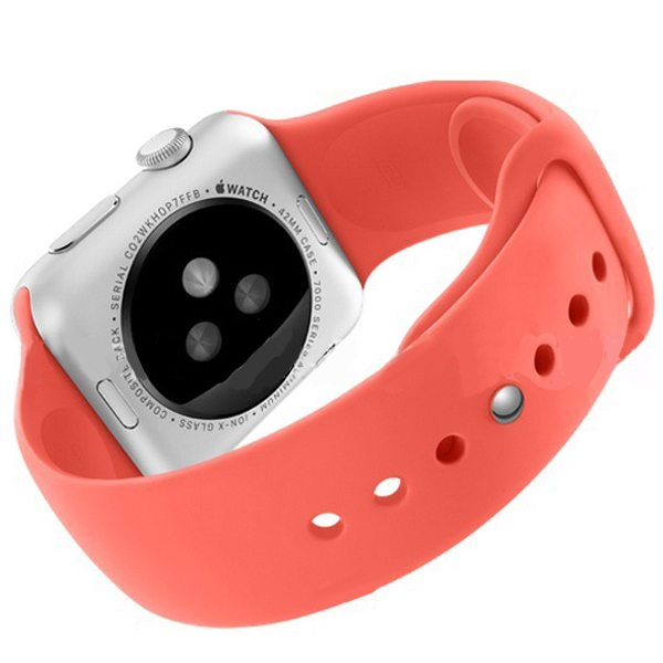 Eco-friendly Material Soft Silicone Wristband for Apple Watch 42MM with Metal Adapter (Red)