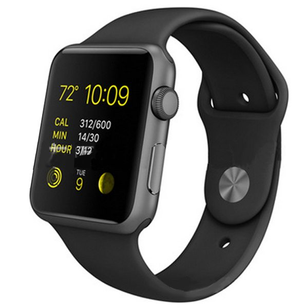 Eco-friendly Material Soft Silicone Wristband for Apple Watch 42MM with Metal Adapter (Black)