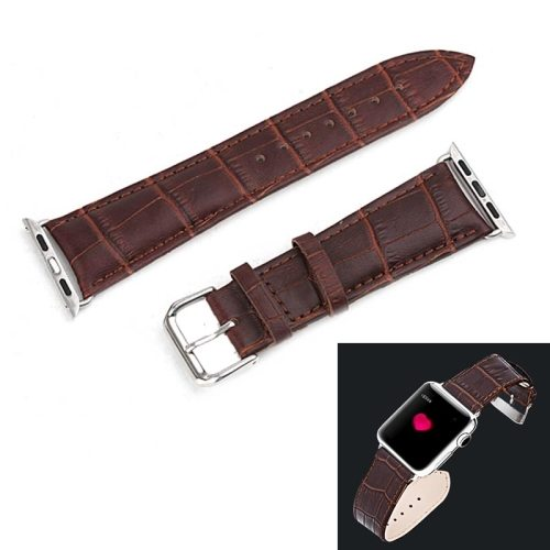 Crocodile Texture Genuine Leather Watch Band for Apple Watch 38mm with Metal Connector (Brown)