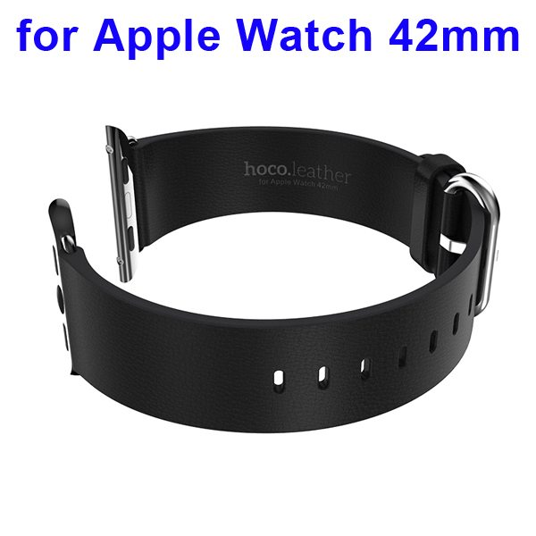 HOCO Brand Smooth Texture Genuine Leather Watch Band for Apple Watch 42mm with Adapter (Black)