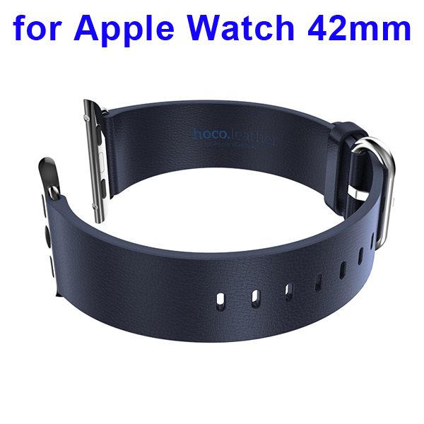 HOCO Brand Smooth Texture Genuine Leather Watch Band for Apple Watch 42mm with Adapter (Dark Blue)
