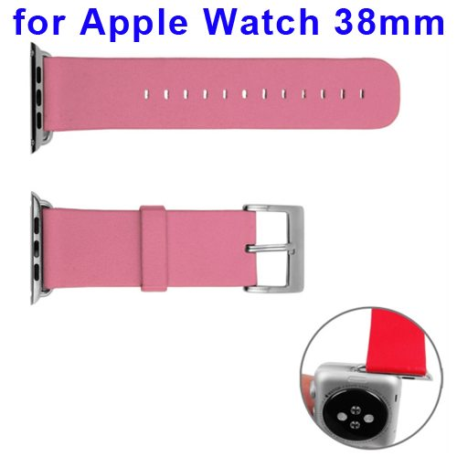 Nappa Cowhide Genuine Leather Watchband Replacement for Apple Watch 38mm with Adapter (Pink)
