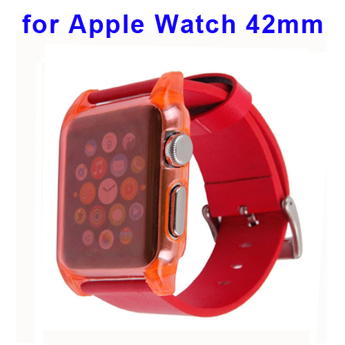 Leather Watchband for Apple Watch include Ultra Thin Crystal Clear Transparent PC case (42mm)