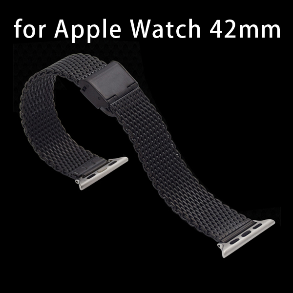New Arrival Stainless Steel Wrist Band with Metal Clasp for Apple Watch 42mm (Black)
