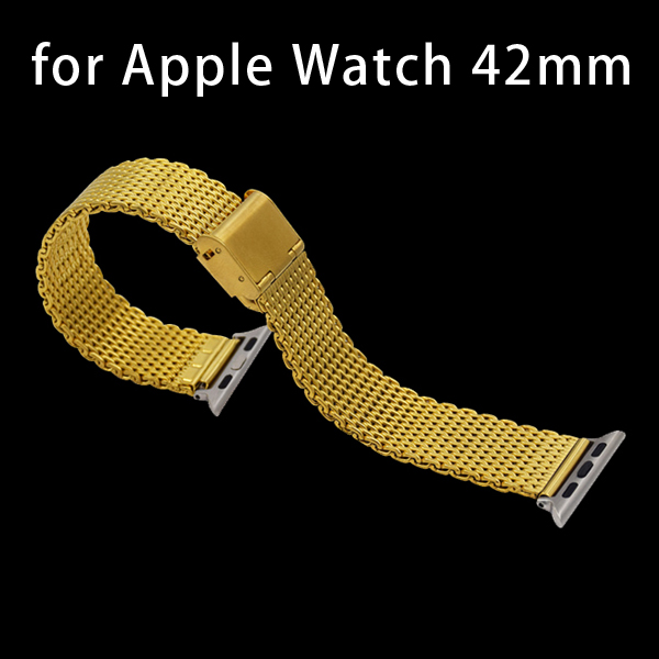 New Arrival Stainless Steel Wrist Band with Metal Clasp for Apple Watch 42mm (Gold)