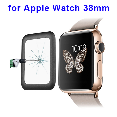 0.2mm 8-9H Surface Hardness Link Dream Metal Full-covered Tempered Glass Screen Protector for Apple Watch 38mm (Black)