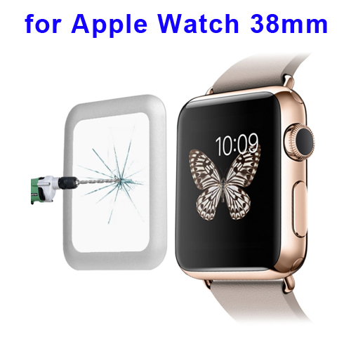 0.2mm 8-9H Surface Hardness Link Dream Metal Full-covered Tempered Glass Screen Protector for Apple Watch 38mm (White)