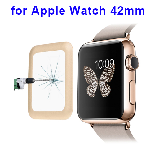 0.2mm 8-9H Surface Hardness Link Dream Metal Full-covered Tempered Glass Screen Protector for Apple Watch 42mm (Gold)