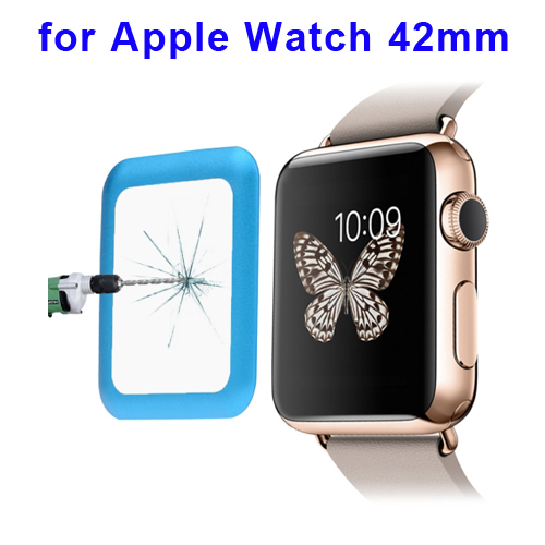 0.2mm 8-9H Surface Hardness Link Dream Metal Full-covered Tempered Glass Screen Protector for Apple Watch 42mm (Blue)