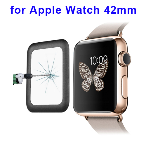0.2mm 8-9H Surface Hardness Link Dream Metal Full-covered Tempered Glass Screen Protector for Apple Watch 42mm (Black)