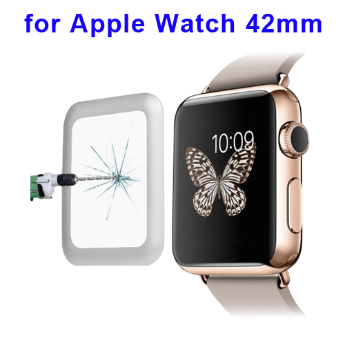 0.2mm 8-9H Surface Hardness Link Dream Metal Full-covered Tempered Glass Screen Protector for Apple Watch 42mm (White)