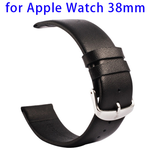 Kakapi Subtle Texture Classic Buckle Pattern Genuine Leather Wristband for Apple Watch 38mm (Black)